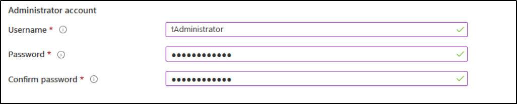 Under the Administrator Account, type username, and password