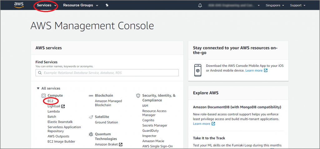 Select Services from the top navigation bar and click EC2 under the category Compute