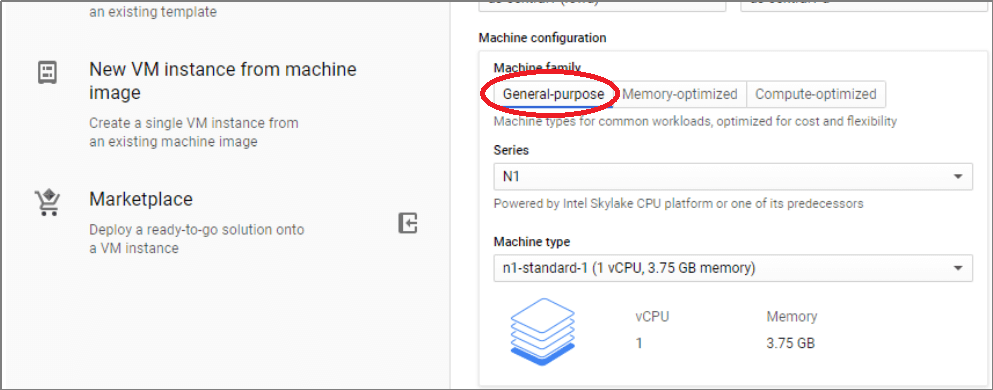 Select the required machine type based on your requirement and the table mentioned above
