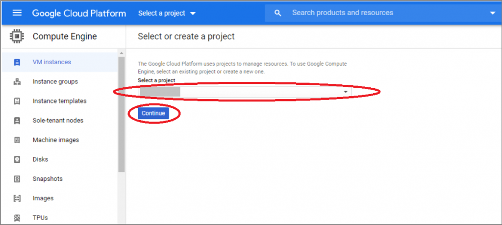 if you already have a project select it and continue