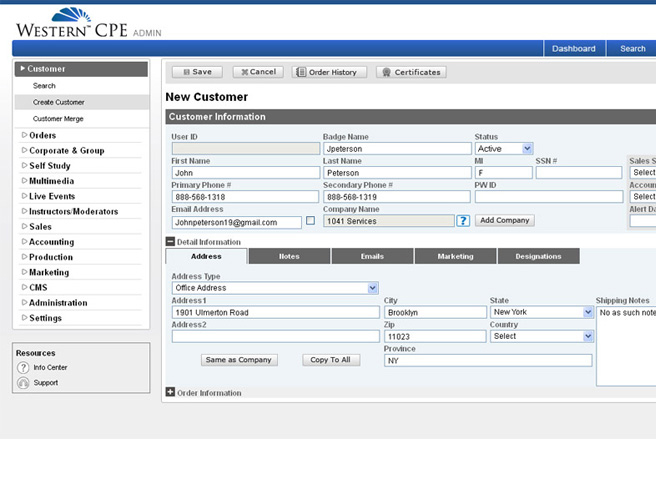 Western CPE (Montana, USA) ASP.Net (MVC) application portal Dashboard - Admin Panel