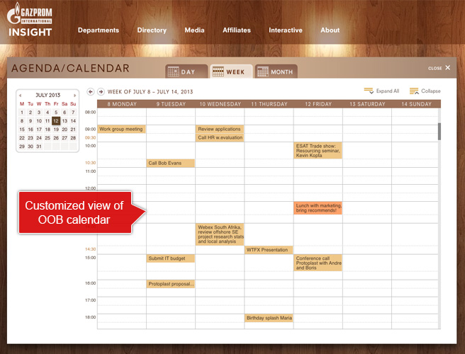 SharePoint 2013 Agenda Calendar - Customize view of OBM calendar